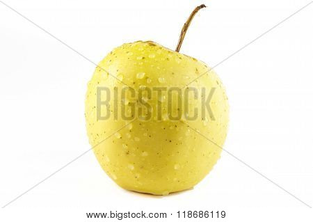 Golden Delicious Apple On White Background