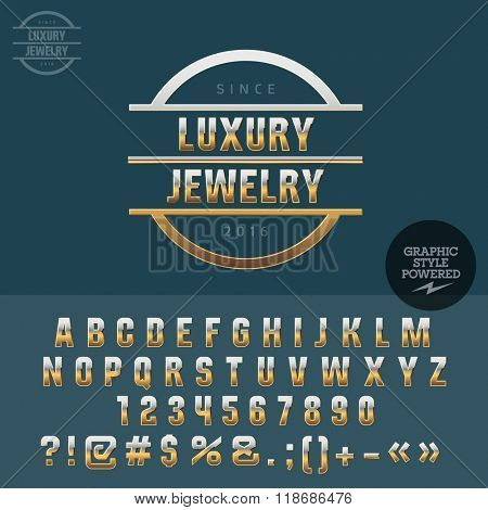 Gold logotype for luxury jewelry shop. Vector set of letters, numbers and symbols.