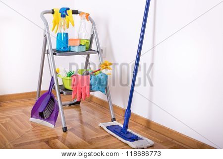 Cleaning Equipment And Supplies In The Room