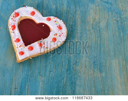 Heart Cookies On The Blue.