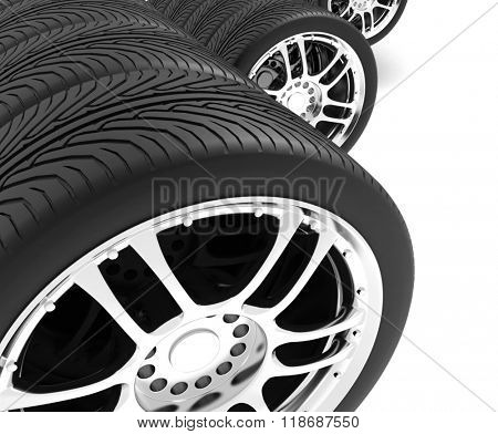 Close-up of automobile wheels. 3D render Illustration on White Background