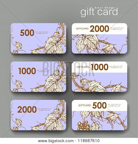 Gift coupon, discount card template with  grapes ornament background