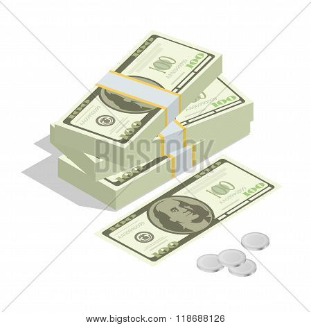 Hundreds of dollars. Stacked pile of cash. Stack of US Dollars on white background. Flat 3d isometri
