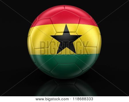Soccer football with Ghana flag. Image with clipping path