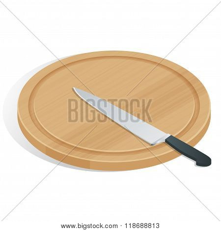 Knife on cutting board isolated on white. The cutting board and knife icon. Chef and restaurant, kit
