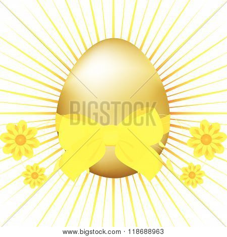 Golden Easter Egg With Ribbon And Bow