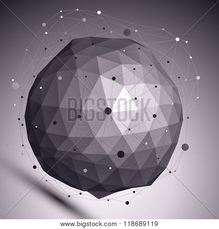 Contemporary Techno Black And White Stylish Spherical Construction Placed Over Dark Background, Abst