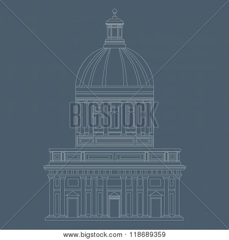 An Illustration Of Historical Dome House In White Colored Lines On Blu Background. Vector Eps10.
