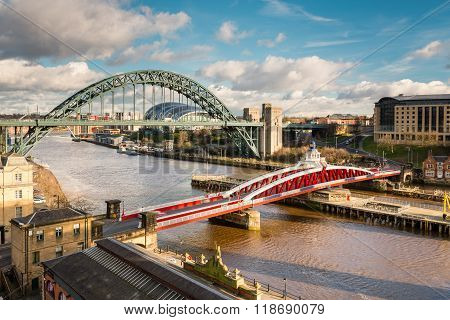 Tyne And Swing Bridges From Above