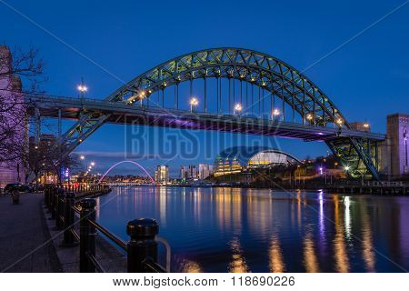 Tyne Bridge And Quayside At Night