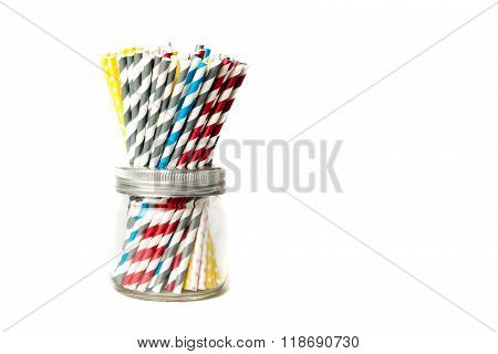 Several Drinking Straws In A Jar