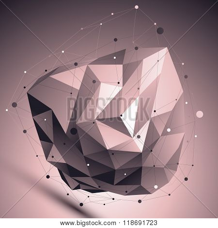 Cybernetic Abstract Contrast 3D Illustration, Vector Digital Eps8 Lattice Asymmetric Object Placed O