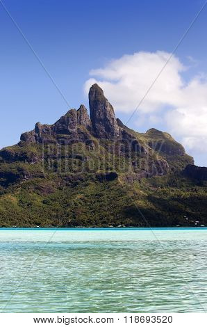 View of the Otemanu mountain and ocean. Bora-Bora. Polynesia