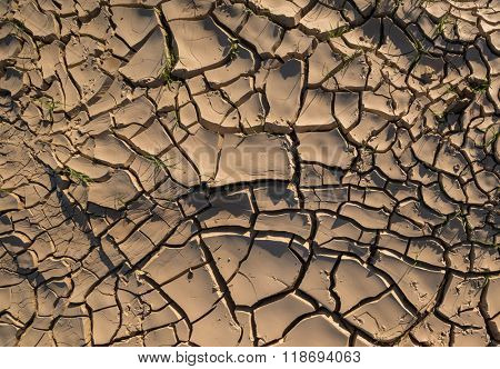 A cracked and dry soil due to lack of water.