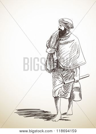 Sketch of barefoot walking pilgrim, Hand drawn illustration