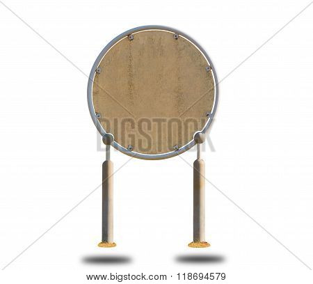 Blank Round Plank Sign Board.