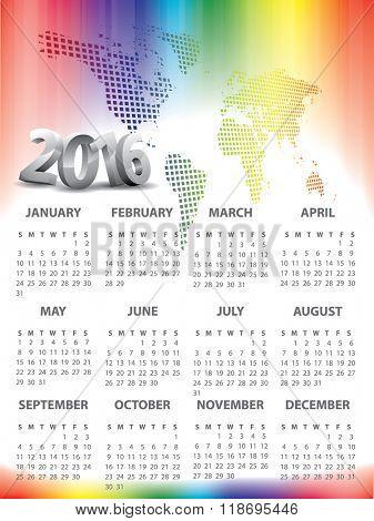 2016 Calendar with World map header