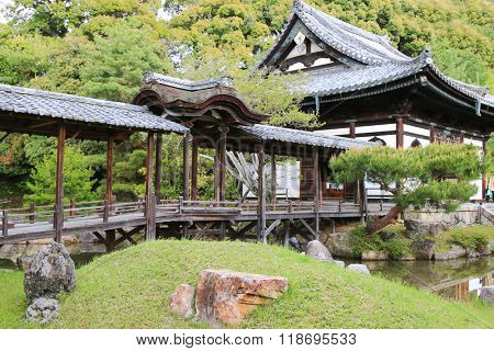 The Kangetsu-dai bridge in the garden (Moon Viewing Pavilion) at Kodaiji Temple in Kyoto, Japan during spring. It was built to view the reflection of the moon on the surface of the pond.
