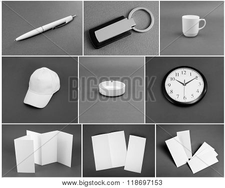 Set Of White Stationery On Gray Background.