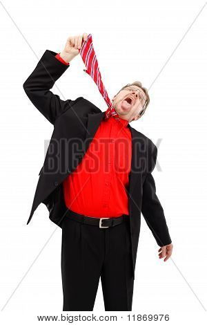 Man Hanging Himself With Tie