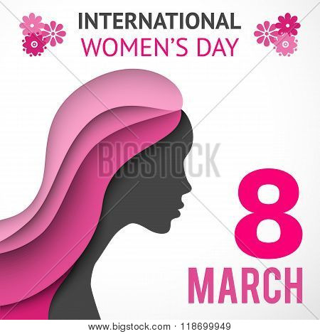 Happy Women's Day greeting or gift card on white background