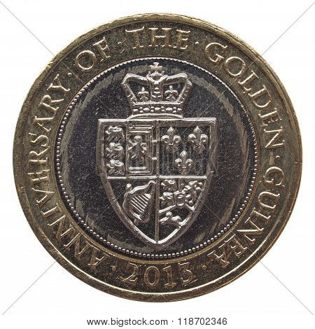 2 British Pound coin (currency of United Kingdom)