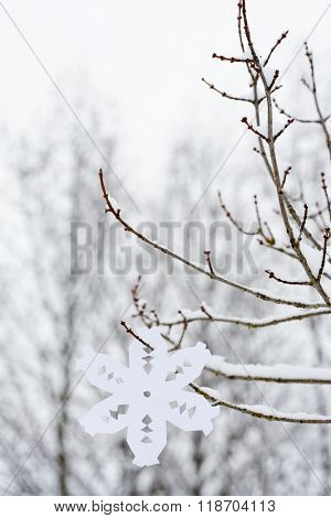 Paper snowflake hanging on a tree