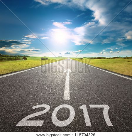 Empty Road To Upcoming 2017 At Beautiful Day