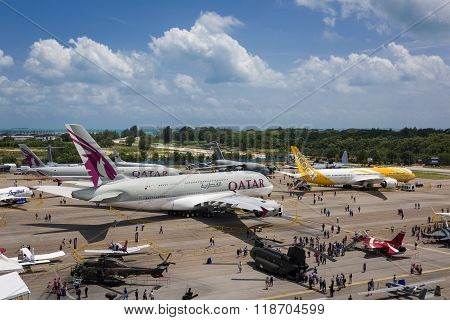 Static Aircraft Display At The Singapore Airshow 2016
