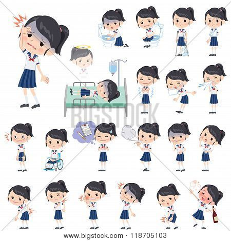 Schoolgirl Shortsleeved Shirt Sailor Suit About The Sickness