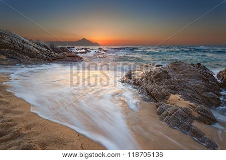 Idyllic Summer Seascape At Beautiful Sunrise
