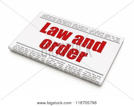 Law concept: newspaper headline Law And Order
