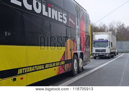 Poland, Eastern Europe,, February, 13, 2016: trucks on a parking in Belgium, Europe