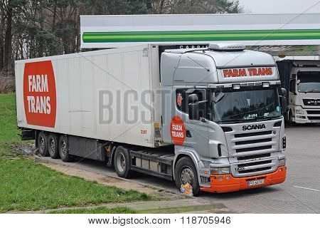 Poland, Eastern Europe, February, 14, 2016: truck on a petrol station in Poland, Europe