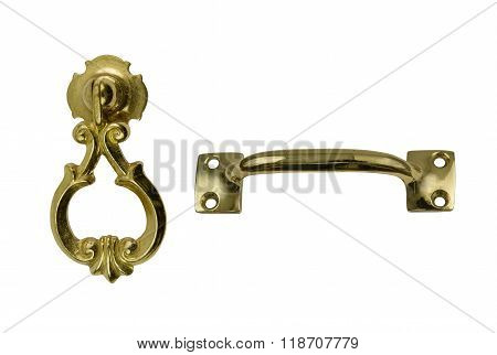 Two antique brass handles
