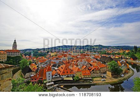 View of old small town Cesky Krumlov, Czech Republic