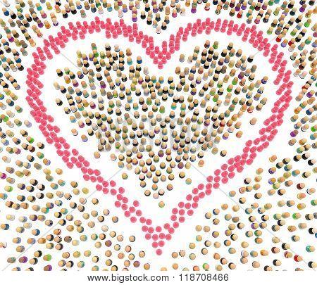 Cartoon Crowd, Pink Heart Shape