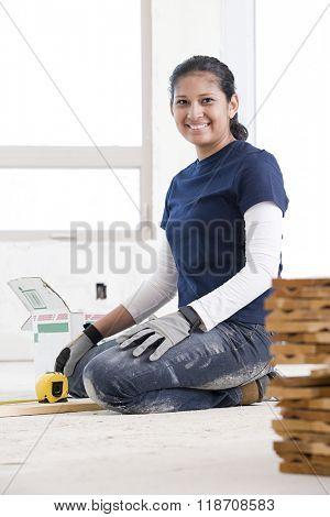 Portrait of female builder