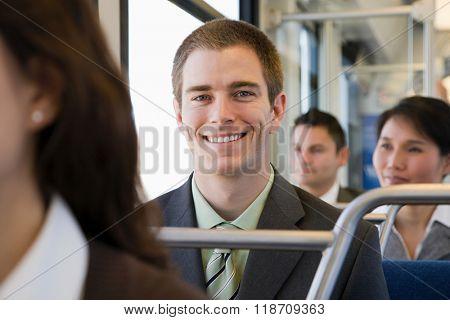 People on light rail