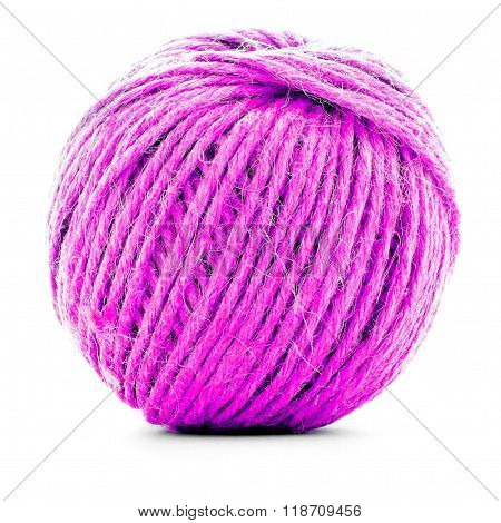 Pink traditional skein, crochet thread ball isolated on white background