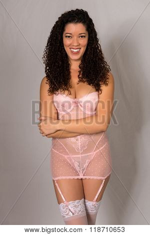 Multiracial Woman In Pink
