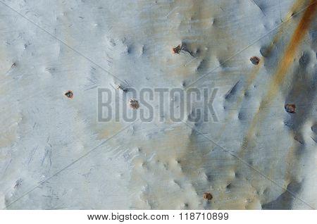 Bullet Holes In Aged Sheet Metal