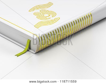 Insurance concept: closed book, Family And Palm on white background
