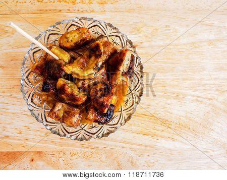 grilled banana with syrub