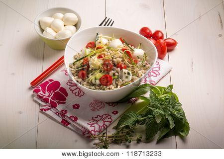barley salad with mozzarella tomatoes zucchinis and herbs