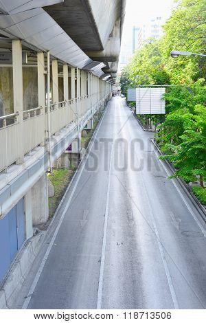 Urban Road And Modern City Skywalk