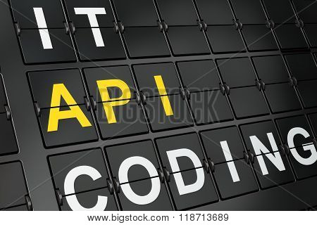 Programming concept: Api on airport board background