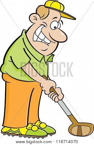 Cartoon man playing golf.