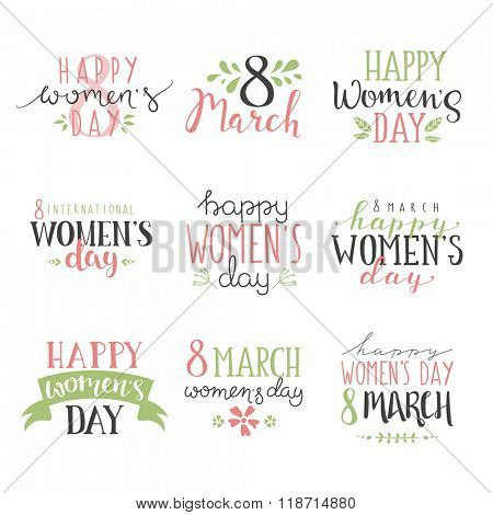 International Women's Day text 8 March for celebration greeting card design. Women Day vector illustration. Women Day hand drawn style. Art text 8 March flat color