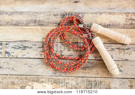 Skipping Rope On The Wooden Table